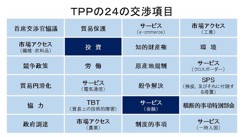 TPPの交渉項目